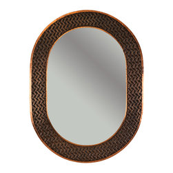 "Premier Copper Products - 35"" Oval Copper Mirror with Braid Design - Uncompromising quality, beauty, and functionality make up this Hand Hammered Copper Oval Mirror Frame with a Decorative Braid Design.  Our hand made copper mirrors complement a wide variety of styles and colors."
