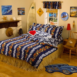 Hawaiian Comforter Bedroom - Dean Miller's first woody car design that was put into nationwide distribution by Linen's n Things.