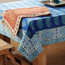 "Paisley Block-Print Tablecloth, 70 x 108"", Warm - Our intricate paisley tablecloths are printed by hand using woodblock printing techniques that date back to the era of second-century textiles. 70 x 108"" Woven of pure cotton. Monogramming is available at an additional charge. Monogram is 3"" high and will be placed at one corner of the tablecloth. Machine wash. Imported."