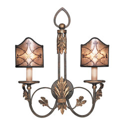 Fine Art Lamps - Villa 1919 Sconce, 153750ST - This charming sconce recalls the Edwardian era — aptly remembered as the Gilded Age. Let the warm finish and hand-painted diamond and fleuron mica panels grace your traditional home.