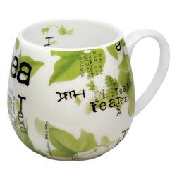 Konitz - Tea Collage Snuggle Mugs, Set of 4 - Designed with a cozy round shape that's perfect for two-hand cupping, as well as a handle for those who prefer to sip that way, this mug is like a hybrid of traditional Asian and European style teacups. The lovely collage print has a definite Asian flavor and lends a tranquil mood to your teatime ritual.