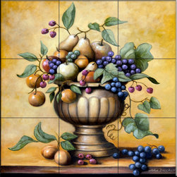 The Tile Mural Store (USA) - Tile Mural - Fruit Bowl  - Kitchen Backsplash Ideas - This beautiful artwork by John Zaccheo has been digitally reproduced for tiles and depicts a nice fruit bowl.    Our kitchen tile murals are perfect to use as part of your kitchen backsplash tile project. Add interest to your kitchen backsplash wall with a decorative tile mural. If you are remodeling your kitchen or building a new home, install a tile mural above your stove top or install a tile mural above your sink. Adding a decorative tile mural to your backsplash is a wonderful idea and will liven up the space behind your cooktop or sink.