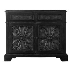 Hooker Furniture - Chest - Hide your stuff in style with this striking cabinet. The drop front drawers are perfect for stashing odds and ends and the flowered cabinet doors open to reveal a functional adjustable shelf allowing for numerous storage options.