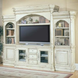 Westminster Entertainment Center - The Westminster Entertainment Center is as attractive as it is versatile and functional. This spacious wall unit adds a warm elegance to your home with its substantial top and base molding, intricate carvings, and finished back panels. Silver-finished hardware enhances the traditional style, while the distressed antique vintage cream crackle finish lends a charming shabby-chic flair. Included in this entertainment system are a TV console, left and right storage piers, and hutch. All pieces are constructed of durable poplar solids and poplar veneers. The center TV console, which accommodates TVs up to 58 inches wide, features two glass or wood-panel doors with shelving behind each one for your DVD player, stereo components, and other equipment. Between these doors are three center drawers - ideal for storing remotes, instruction manuals, cords, batteries, and other essentials.Each pier has three shelves for books, collectibles, and photos. The lower section of each pier features an enclosed cabinet with a shelf for storing DVDs, CDs, or smaller electronics. The hutch features a wide adjustable shelf - perfect for displaying your favorite mementoes and collectibles. The hutch and piers are topped with decorative crown molding for added style and visual interest. The console's built-in power center helps control cord clutter and means you won't have to move components to wire your equipment.Additional Features:Your choice of glass or wood-panel console doorsConsole contains 3 drawers, 2 cabinetsHutch features 1 adjustable shelf2 side piers with 3 shelves eachEach pier has cabinet that opens to 1 shelfBuilt-in power center for easy connectingElegant silver-finished hardwareDecorative crown molding on hutch and piersDimensions:Overall: 128.25W x 26D x 94H inchesTV console: 68.25W x 22D x 35.5H inchesTV opening: 58.5 x 18.5 x 36.25 inchesPier: 32.5W x 20.5D x 83.5H inchesAbout Parker HouseFamily-owned and family-operated, Parker House Furniture is based in California and has been serving the fine furniture industry since 1946. The company's time-proven quality is an industry standard. Parker House continues its legacy with its newest line of expanding television consoles and entertainment wall systems, plasma TV stands, and accessories. Parker House takes pride in the quality of its furniture and is committed to making customer satisfaction its number one priority.