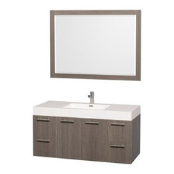 "Wyndham Collection(R) - Amare 48"" Wall-Mounted Bathroom Vanity Set with Integrated Sink by Wyndham Colle - The Wyndham Collection is an entirely unique and innovative bath line. Sure to inspire imitators, the original Wyndham Collection sets new standards for design and construction. The Amare wall-mounted vanity family delivers beautiful wood grain exteriors offset by modern brushed chrome door pulls. Each vanity provides a full complement of storage areas behind sturdy soft-close doors and drawers. This versatile vanity family is available with distinctive vessel sinks or sleek integrated counter and sinks to fulfill your design dreams. A wall-mounted vanity leaves space in your bathroom for you to relax. The simple clean lines of the Amare wall-mounted vanity family are no-fuss and all style. Amare Bathroom Vanities are available in multiple sizes and finishes. FeaturesConstructed of beautiful veneers over the highest grade MDF, engineered for durability, and to prevent warping and last a lifetime 8-stage preparation, veneering and finishing processHighly water-resistant low V.O.C. sealed finishUnique and striking contemporary designModern Wall-Mount DesignMinimal assembly requiredDeep Doweled DrawersFully-extending soft-close drawer slides Concealed soft-close door hinges Backsplash not availableAcrylic-Resin integrated sink Rectangular Sink Single-hole faucet mountFaucet(s) not includedMirror includedMetal exterior hardware with brushed chrome finish Two (2) functional doors Four (4) functional drawers Plenty of storage space Plenty of counter spaceIncludes drain assemblies and P-traps for easy assembly How to handle your counter Spec Sheet for Vanity Installation Guide for VanitySpec Sheet for MirrorInstallation Guide for Mirror Spec Sheet for Amare Rotating Wall Cabinet with Mirror (WC-RYV202) Spec Sheet for Amare Bathroom Wall Cabinet (WC-RYV205)Installation Guide for Amare Bathroom Wall Cabinet (WC-RYV205) Spec Sheet for Amare Bathroom Wall Cabinet (WC-RYV207-WC)Installation Guide for Amare Bathroom Wall Cabinet (WC-RYV207-WC)"