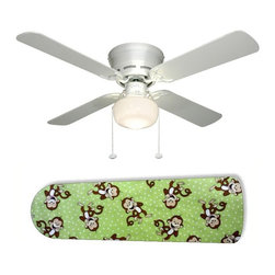 """Green Monkey Business Monkeys 42"""" Ceiling Fan and Lamp - 42-inch 4-blade ceiling fan with a dome lamp kit that comes with custom blades. It has a white flushmount fan base. It has an energy efficient 3-speed reversible airflow motor for year long comfort. It comes with complete installation/assembly instructions. The blades can be cleaned with a damp cloth. It is made with eco-friendly/non-toxic products. This is brand new and shipped in the original box. This is not a licensed product, but is made with fully licensed products. Note: Fan comes with custom blades only."""