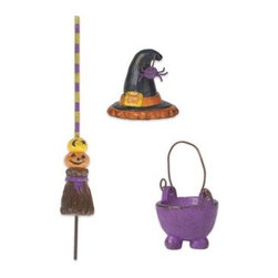 Witch Accessories Set of 3 - This set of three assorted witch accessories designed by Genevieve Gail features all-weather paint.