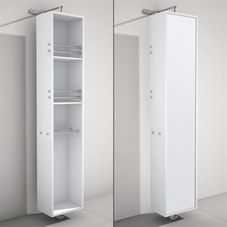 Wyndham Collection(R) - April Rotating Floor Cabinet with Mirror by Wyndham Collection - Matte White - April Rotating Floor Cabinet with Mirror takes modern looks and bathroom storage to the next level with its clever design. Featuring a space-saving design which rotates 360 degrees this cabinet combines a full length mirror on one side with three large storage spaces and integrated towel racks on the other. This unit mounts to the floor and wall and metal mounting hardware is included.Available in multiple finishes. The Wyndham Collection is an entirely unique and innovative bath line. Sure to inspire imitators, the original Wyndham Collection sets new standards for design and construction. Features 8-stage painting and finishing process Wall- and Floor-mounted storage cabinet Rotates 360° on floor-mounted post Mirrored fully on one side Metal hardware with chrome finish Two shelves, two towel bars Spec Sheet Installation Guide for Cabinet Installation Guide for Undermount Sinks --> Installation Guide for Vessel Sinks --> Installation Guide for Mirrors -->
