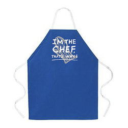 "Attitude Aprons - Attitude Aprons 'I'm The Chef' Blue Apron - Let everyone know you're the chef in your home by donning this blue cooking apron. It will bring a smile to the faces of everyone around you once they read the ""I'm The Chef"" print. This machine-washable apron makes the perfect gift for any occasion."