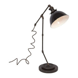 """Pre-owned Large Tee Brass Plumbing Table Lamp - Black Dome - Shed light on any project with this vintage industrial inspired desk lamp. The lamps feature repurposed industrial plumbing pipe, brass hardware and porcelain enamel metal shades.     •  24"""" High x 15 1/2"""" Deep x 7"""" Diameter Base  •  1/8 IP Brass pipe  •  1/8 IP Repurposed industrial brass plumbing pipe fittings  •  Solid brass knob switch standard medium (E26) base socket  •  Solid brass 2 1/4"""" shade fitter  •  7"""" Diameter porcelain enamel metal shade w/ white interior  •  8ft vintage style brown cloth covered twisted cord  •  Antique style brown Bakelite plug  •  110-250 Volts - 250 Watt max bulb (not included)  •  All UL Listed components  •  Vintage 2 ½ pound barbell  •  Reclaimed black honed marble base  •  Hand finished ebonized brass patina  •  Hand finished ebonized rust patina (barbell)  •  Handcrafted in Santa Barbara, CA by artisan Hilary Nagler"""