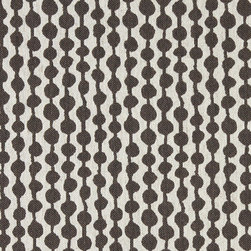 Taupe and Off White Circle Striped Linen Look Upholstery Fabric By The Yard - This contemporary fabric is an excellent choice for all indoor upholstery! In addition to looking like linen, this material is woven for enhanced appearance and durability.
