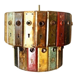 EuroLux Home - Upcycled Chandelier Made of Consigned Vintage Door - Product Details