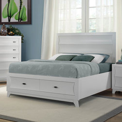 Homelegance - Homelegance Zandra Platform Bed w/ Storage Footboard in White California King - The clean lines of contemporary style are given new life in the Zandra Collection. Curves dominate the design of each case piece with the unique shape of the drawer fronts. The footboard offers additional space for storage in your bedroom. The Zandra Collection is available in pearl black finish and white finish. - 2262KW-1CK.  Product features: Zandra Collection; Contemporary Style; Poplar Solid Drawer Front; Storage Footboard: 2 Drawers; Unique shape of the drawer fronts; White Finish. Product includes: Bed (1). Platform Bed w/ Storage Footboard in White belongs to Zandra Collection by Homelegance.