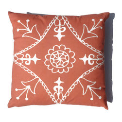 Moroccan Pillow Orange Suzani African 20 x 20 - Suzani Throw Pillow in Tangerine / Burnt Orange Color and Off White Print. This is one of my original textile designs printed on 6 oz weight cotton fabric. Back side is solid orange and this pillow has an invisible zipper for easy access. Can be machine washed separately on delicate cycle, cold water with non-phosphate detergent and line dried. However, dry cleaning is recommended for best result. (Style: Suzani Tile)