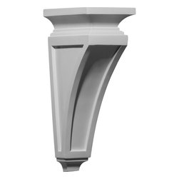 "Ekena Millwork - 4 3/4""W x 7 1/2""D x 14""H Reece Corbel - 4 3/4""W x 7 1/2""D x 14""H Reece Corbel. These corbels are truly unique in design and function. Primarily used in decorative applications urethane corbels can make a dramatic difference in kitchens, bathrooms, entryways, fireplace surrounds, and more. This material is also perfect for exterior applications. It will not rot or crack, and is impervious to insect manifestations. It comes to you factory primed and ready for your paint, faux finish, gel stain, marbleizing and more. With these corbels, you are only limited by your imagination."