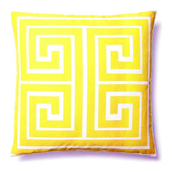 "5 Surry Lane - Modern Contemporary Greek Key Square Home Decor Accent Pillow, Yellow - ""This vibrant, cheery pillow will breathe new life into any space.  The eye-catching Greek Key motif adds the perfect dose of pattern and color. 100% cotton canvas.  Down insert included.  Hidden zipper closure.  Hand wash in cold water.  Made in China."