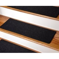 """Dean Flooring Company - Dean DIY Carpet Stair Treads 23"""" x 8"""" - Black - Set of 13 Plus Double-Sided Tape - Dean DIY Carpet Stair Treads 23"""" x 8"""" - Black - Set of 13 Plus Double-Sided Tape : Quality, Stylish Carpet Stair Treads by Dean Flooring Company Extend the life of your high traffic hardwood stairs. Reduce slips/increase traction (your treads must be attached securely to your stairs). Cut down on track-in dirt. Great for pets and pet owners. Helps your dog easily navigate your slippery staircase. 100% Polypropylene. Set includes 13 carpet stair treads PLUS one roll of double-sided carpet tape for easy, do-it-yourself installation. Each tread is bound around the edges. No bulky fastening strips. You may remove your treads for cleaning and re-attach them when you are done. Add a touch of warmth and style and a fresh new look to your stairs today with new carpet stair treads from Dean Flooring Company! This product is designed, manufactured, and sold exclusively by Dean Flooring Company. We do not sell our products for resale to any other retailers. Beware of purchasing unauthorized, counterfeit, inferior quality versions of our branded merchandise from other sellers."""