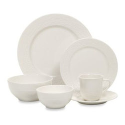 Gibson - Gibson Home Noble Weave 48-Piece Porcelain Dinnerware Set in White - The elegant and sophisticated embossed design of the Noble Weave Dinnerware Collection makes this set an ideal choice for any tabletop. Crisp white porcelain features a delicately embossed weave design that decorates the rims and edges of each piece.