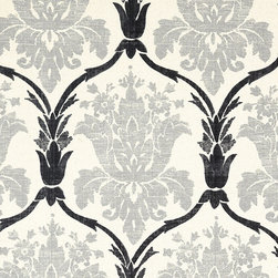 "Ballard Designs - Ophelia Gray Fabric by the Yard - Content: 71% cotton, 19% poly, 10% linen. Repeat: Non-railroaded fabric with 25.20"" repeat. Care: Dry clean. Width: 54"" wide. Gray and black damask printed on soft, nubby cotton/linen blend.  . .  .  . Because fabrics are available in whole-yard increments only, please round your yardage up to the next whole number if your project calls for fractions of a yard. To order fabric for Ballard Customer's-Own-Material (COM) items, please refer to the order instructions provided for each product.Ballard offers free fabric swatches: $5.95 Shipping and Processing, ten swatch maximum. Sorry, cut fabric is non-returnable."