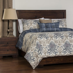 SIScovers - Genoa Reversible 4-piece Duvet Cover Set - Update your bedroom decor with this trendy Genoa duvet cover set,featuring a soft polyester microfiber construction. Designed with a reversible distressed damask pattern,this traditional bedroom set includes shames and a rectangular pillow.