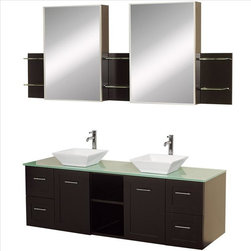 "Wyndham Collection - Wyndham Avara Vanity 60"" Glass Top Sinks - Make a statement with the Avara double vanity, and add a twist of the transitional to an otherwise modern classic."
