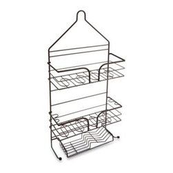 Msa Products, Inc. - Spa Creations Three-Tier Matte Bronze Shower Caddy - This large shower caddy has a heavyweight construction and an attractive matte bronze finish. Its two roomy shelves, sloped soap tray, and loops for toothbrushes and razors allow for plenty of storage.