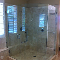 "Neo-Angle Shower Enclosures - Six Panel Custom Neo-Angle Shower Enclosure using 3/8"" thick tempered safety glass, Clips and Glass to Glass Hinges"
