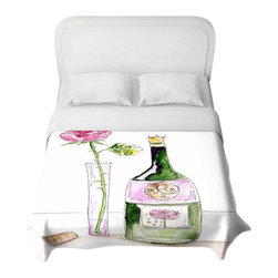 DiaNoche Designs - Rose Wine Duvet Cover - Lightweight and super soft brushed twill duvet cover sizes twin, queen, king. Cotton poly blend. Ties in each corner to secure insert. Blanket insert or comforter slides comfortably into duvet cover with zipper closure to hold blanket inside. Blanket not included. Dye Sublimation printing adheres the ink to the material for long life and durability. Printed top, khaki colored bottom. Machine washable. Product may vary slightly from image.