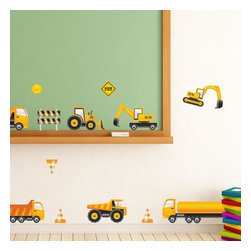 """Patrick Weber - Nursery Wall Decals - Caution: Kids at Work - Cement mixers, dump trucks and caution cones oh my! This set of wall decals is sure to please the pickiest of future architects. And it was designed with you (the parents) in mind. Gone are the days of tripping over four wheeled Tonka trucks. Simply stick these easy to use decals directly to your wall and let the fun begin! Peel, Stick, and Restick these self-adhesive wall decals to decorate your walls and any other flat surface. Size range - Trucks: 8"""" to 18"""" wide Extras: 1. 5"""" to 5"""" wide. The overall size of your design will depend on your customized layout"""
