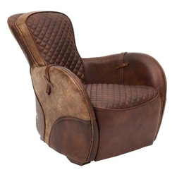 Saddle Leather Chair - Giddy up in this Saddle inspired club chair made from Top-Grain Leather hides. The details throughout this piece are intricately design with the up-most care. The Saddle Leather Chair also incorporates the sidesaddle to create an authentic resemblance.