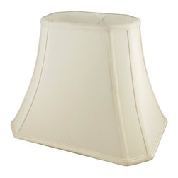 American Heritage Shades - Fabric Lampshade in Eggshell w Fitter (10 in. Diam x 8.75 in. H) - Choose Size: 10 in. Diam x 8.75 in. HLampshade Types. Shantung faux silk with off-white fabric liner. Hand made. Matching top, bottom and vertical trim. Corner cut rectangle bell shape. Enhances lamp and room decor. Made from polyester. Fitter in brass color. Made in USA. No assembly required