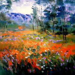 Springtime California Poppies 16' (Original) by Jean Vadal Smith Bentson - In the springtime lots of wild poppies fill the California landscape . Mountains peek out of background oak trees.  I am  blessed to live in Northern California about an 1.5 hr. from beautiful Yosemite. Loose brushwork and palette knife textures fill this painting with vibrant color. Painted in oils on canvas board  in size 16 x 12 x 1/8 thickness but it will come to your door in a lovely wood Antique Plein Air look frame in a Silver Speckle finish which goes wonderfully with all metallic finishes  Overall size with the frame is 18 x 22 . A hanger is attached for you on the top backside of frame so you can hang this lovely painting on your wall right out of the box.