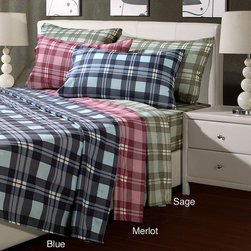 UHF - Plaid Microfiber Queen-size Sheet Set - Give your bedroom or guestroom a new season update with this vibrant plaid queen-size sheet set. It is constructed of a smooth microfiber so youll sleep in ultimate comfort. This patterned sheet set would look striking among contemporary decor.