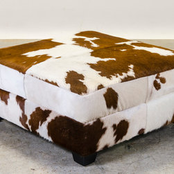Brown and White Hair on Hide Ottoman -