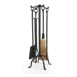 WOODFIELD - Woodfield Black Wrought Iron 4-piece Tool Set W/ring Handles - Woodfield Black Wrought Iron 4-piece Tool Set W/ring Handles