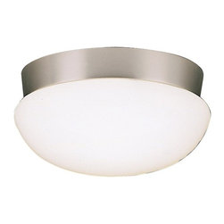 BUILDER - BUILDER Energy Efficient Flush Mount Ceiling Light X-LFIN3018 - A Brushed Nickel finish compliments the clean look of the fluid lines and contemporary styled white clip on glass shade on this energy efficient Kichler Lighting flush mount ceiling light. 90&#176: C wire rated.