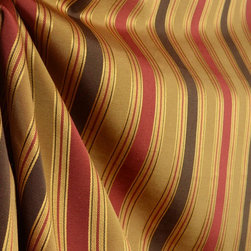 Swavelle - Emblaze Havana Swavelle Striped Brown Red Drapery Fabric By The Yard - Swavelle Fabric Emblaze in the color Havana is a poly cotton striped fabric. Great weight for draperies, bedding, pillows and some light upholstery