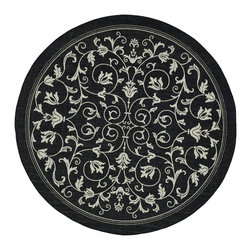 Safavieh - Safavieh Courtyard Indoor/ Outdoor Geometric-pattern Black/ Sand Rug (7'10 Round - Whether you are looking for a new addition to your home or are still about to furnish an empty house, this round indoor/outdoor rug should be on your list. This black contemporary rug can easily blend with furniture pieces you might already have chosen.