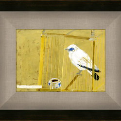Soicher-Marin - Song Bird in Cage - Giclee print with a java brown contemporary distressed Wood Frame with a tan/grey linen liner.  Includes glass, eyes and wire. Made in the USA. Wipe down with damp cloth