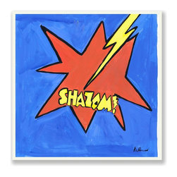 Stupell Industries - 'Shazam' Blue/Red/Yellow Square Wall Plaque - Made in USA. MDF Fiberboard. Hand finished and packed. Approx. 12 in. W x 12 in. L. 0.5 in. ThickThe Kids Room by Stupell features exceptional handcrafted wall decor for children of all ages.  Using original art designed by in-house artists, all pieces feature hand painted and grooved borders as well as colorful grosgrain ribbon for hanging.  Made in the USA, everything found in The Kids Room by Stupell exudes extraordinary detail with crisp vibrant color. Whether you are looking for one piece to match an existing room's theme, or looking for a series to bring the kid's room to life, you will most definitely find what you are looking for in The Kids Room by Stupell.