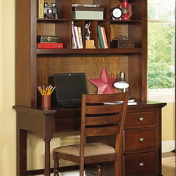 Homelegance - Aris Kids Computer Desk - Hutch is optional. Chair sold separately. Three dovetailed drawers. Metal drawer glides. Eight storage compartments hutch. Bun feet. Can be used as writing desk. Made from select hardwoods and veneers. Warm brown cherry finish. Desk: 48 in. W x 23.5 in. D x 31 in. H. Hutch: 47.5 in. W x 13 in. D x 46.5 in. H