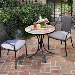 None - Terra Cotta 3-piece Tile Top Bistro Set - This terra cotta outdoor bistro set features two elegant metal chairs in a black powder coating and a terra cotta tabletop. The table set features woven backs on the seats,along with a ringed sandstone and grey tabletop for great style.