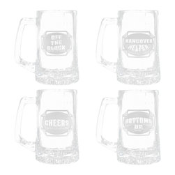 Crystal Imagery, Inc. - Engraved Man Cave Beer Mug Set of 4 - When beer o'clock rolls around, these artfully engraved beer mugs have got the right attitude for guy-style partying. Bachelor party gift solved!