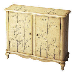 Butler Specialty Furniture - Artists' Originals Console Cabinet 1737130 - This attractive console chest will be a bright spot in any space. Meticulously crafted from poplar hardwood solids and wood products, it boasts a whimsical Winter Forest textured hand painted finish. With functionality to match its aesthetics, it includes an adjustable interior shelf behind two doors with antique brass finished hardware. Only listed product included.