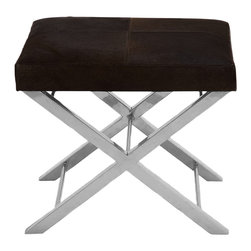 ecWorld - Urban Designs Modern Steel and Cowhide Leather Counter Stool - Brown Cushion - Make your room feel like a modern retreat. This padded and upholstered genuine leather stool boasts sleek lines and chic design, classic luxury in a contemporary shell. Imported