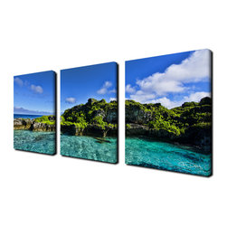 Ready2HangArt - Ready2hangart Chris Doherty 'Grunge Pano III' 3-piece Canvas Wall Art - The 'Grunge Pano' 3-piece canvas art set depicts an island with a clear blue sky overhead and a crystal clear sea. This 3-piece canvas art set features a tropical theme and is gallery-wrapped canvas for a contemporary look.