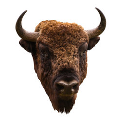 Society Style - American Bison Mount Wall Decal - Remember that computer game we all played as children, the one where you crossed the Oregon Trail and shot bison along the way and if you actually got one it would feed you for like, ever, and it was the most exciting thing? Relive the glory of your childhood with this traditional bison head wall decal. Just mount it on the wall and bask in the memory of your excellent middle school-big-game-shooting-skills. (This is an adhesive wall decal and not a real animal mount)