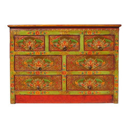 Golden Lotus - Tibetan Dragon Head Graphic 7 Drawers Cabinet - This is a decorative Tibetan accent cabinet with seven drawers which are painted with colorful Tibetan style dragon head graphic. The main color is lime green and orange.