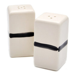 Solitary Stroke Salt & Pepper Set - Pass the salt and pepper, please! The simple single watercolor line on these is stunning.