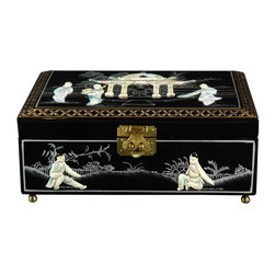 Oriental Furniture - Clementina Jewelry Box - Black - This rectangular jewelry box was hand-crafted by artisans in the Guangdong province of mainland China. The compartment is lined with fine red felt and has a removable felt ring tray. Finely detailed and lacquered by hand, each piece is individual and unique, and makes a fine gift for a loved one, or a special treat for yourself!